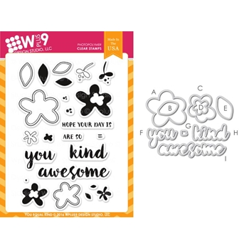 Wplus9 YOU EQUAL KIND Clear Stamp And Die Combo WPLUS310
