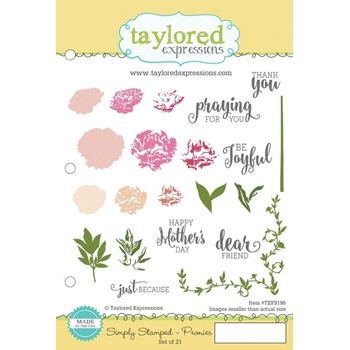 Taylored Expressions SIMPLY STAMPED PEONIES Cling Stamp Set TEFS196