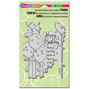 Stampendous Cling Stamp BIRTHDAY BALLOONS Rubber UM CRR259