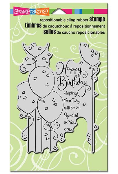 Stampendous Cling Stamp BIRTHDAY BALLOONS Rubber UM CRR259 zoom image