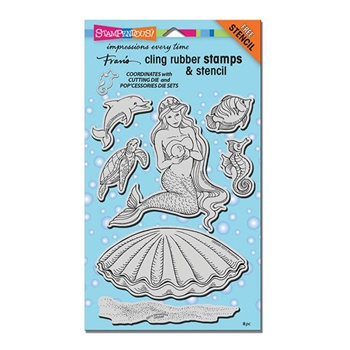 Stampendous Cling Stamps PEARL MERMAID with Stencil UM Rubber CRS5088