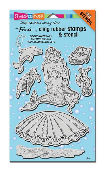 Stampendous Cling Stamps PEARL MERMAID with Stencil UM Rubber CRS5088 zoom image