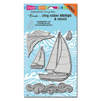 Stampendous Cling Stamps SAILBOATS with Stencil UM Rubber CRS5089