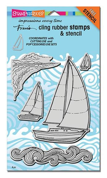 Stampendous Cling Stamps SAILBOATS with Stencil UM Rubber CRS5089 zoom image