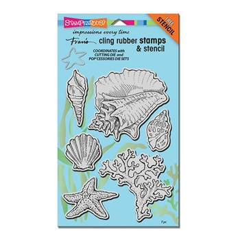 Stampendous Cling Stamps SEASHELLS with Stencil UM Rubber CRS5090