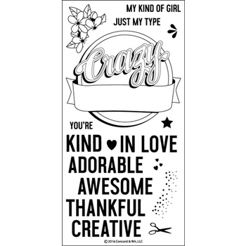 Concord & 9th CRAZY AWESOME Clear Stamp Set 10077C9*