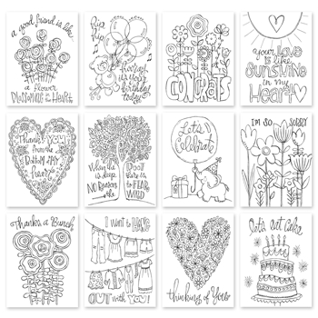 Simon Says Stamp SUZY'S WATERCOLOR EVERY OCCASION NOTES Water Color Paintable Prints My Favorite SPE12