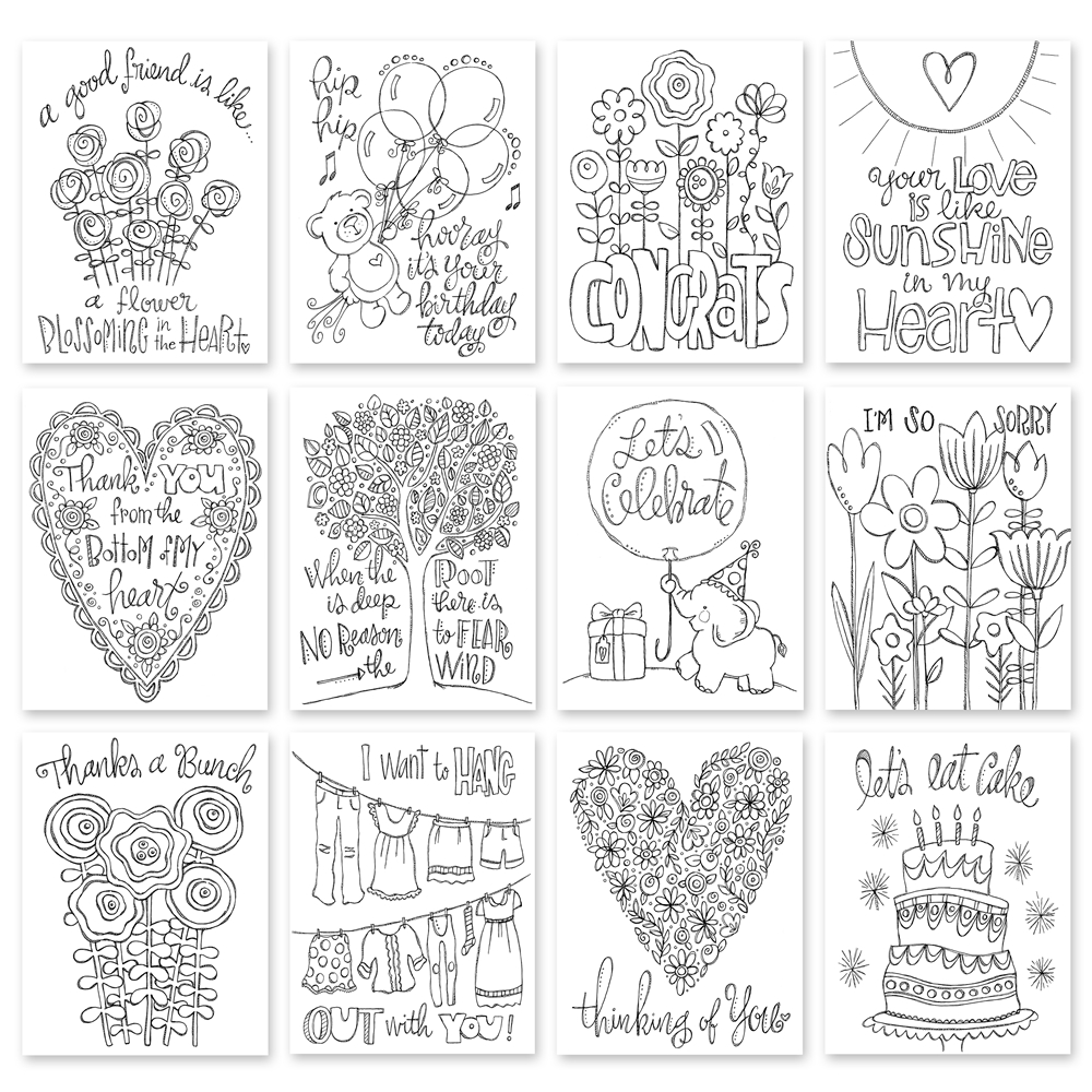 Simon Says Stamp SUZY'S WATERCOLOR EVERY OCCASION NOTES Prints My Favorite SPE12  zoom image