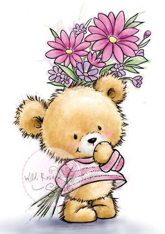 Wild Rose Studio TEDDY WITH FLOWERS Clear Stamp CL490 zoom image