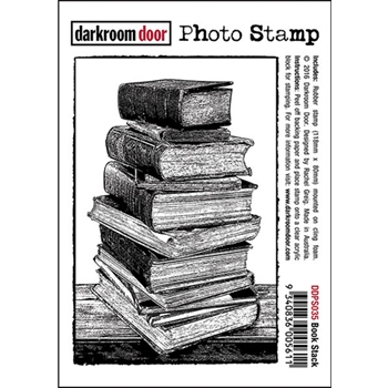 Darkroom Door Cling Stamp BOOK STACK Photo Rubber UM DDPS035