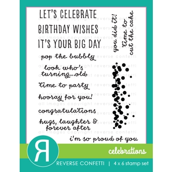 Reverse Confetti CELEBRATIONS Clear Stamp Set