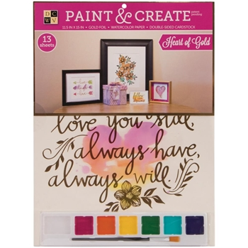 DCWV HEART OF GOLD Paint And Create Watercolor Kit PS0020014