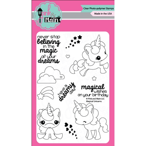 Pink and Main MAGICAL UNICORNS Clear Stamp Set 022108 Preview Image