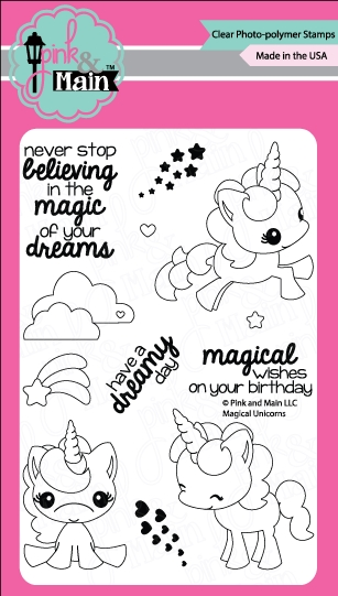 Pink and Main MAGICAL UNICORNS Clear Stamp Set 022108 zoom image
