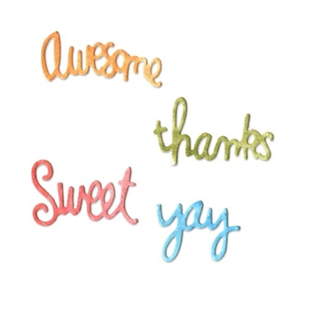 SIZZIX CIRCLE WORDS: YAY, THANKS, SWEET AND AWESOME Thinlits Die Set 661104