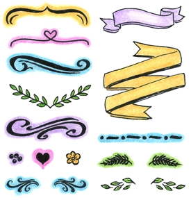 Inky Antics BANNERS BRACKETS AND BORDERS Clear Stamp Set 11341SC