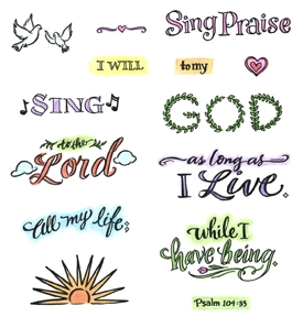 Inky Antics SING PRAISE Clear Stamp Set 11343SC