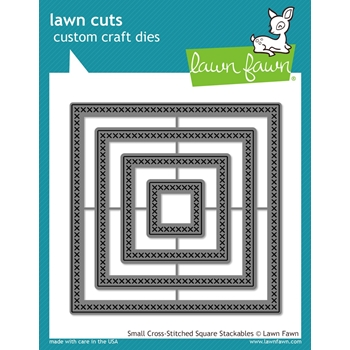 Lawn Fawn SMALL CROSS-STITCHED SQUARE STACKABLES Lawn Cuts Dies LF183