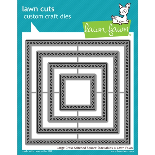 Lawn Fawn LARGE CROSS-STITCHED SQUARE STACKABLES Lawn Cuts Dies LF1182 Preview Image
