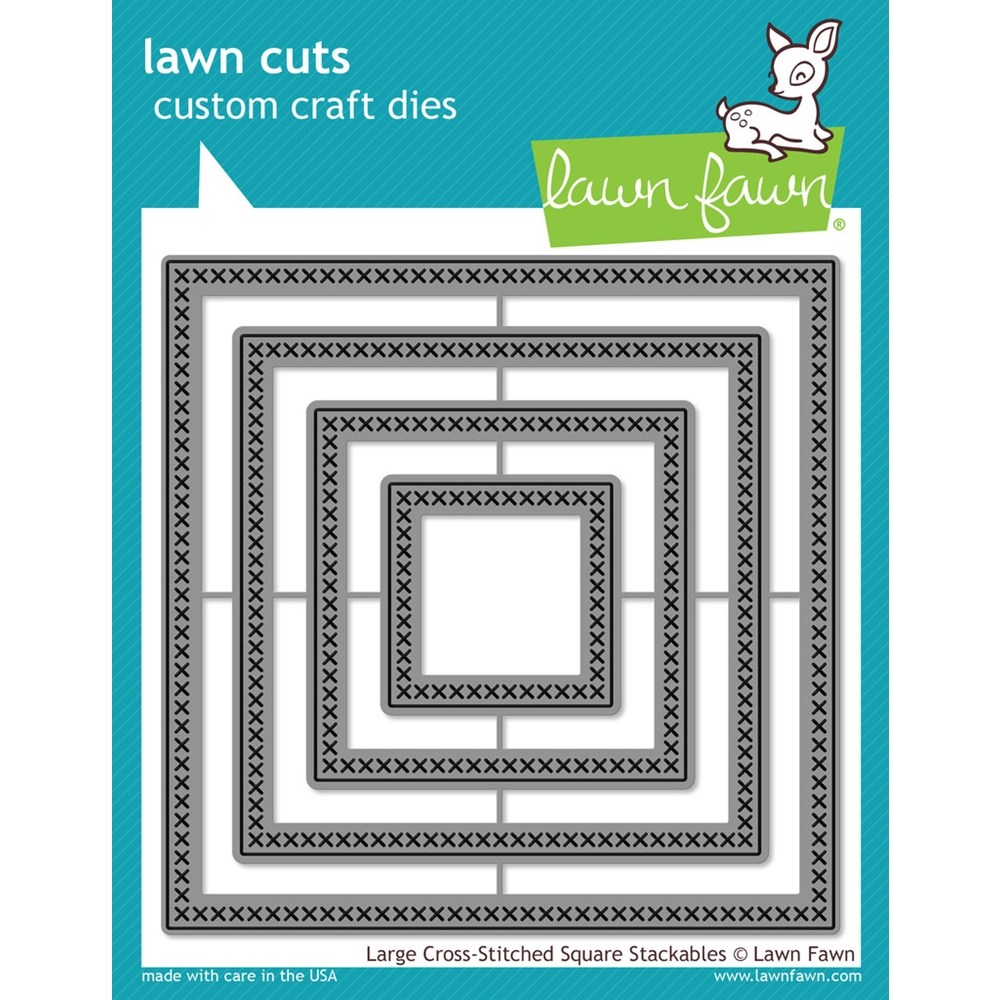 Lawn Fawn LARGE CROSS-STITCHED SQUARE STACKABLES Lawn Cuts Dies LF1182 zoom image