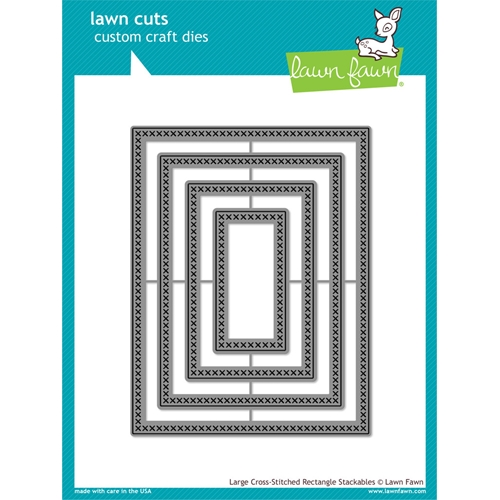 Lawn Fawn LARGE CROSS-STITCHED RECTANGLE STACKABLES Cuts Dies LF1178 Preview Image