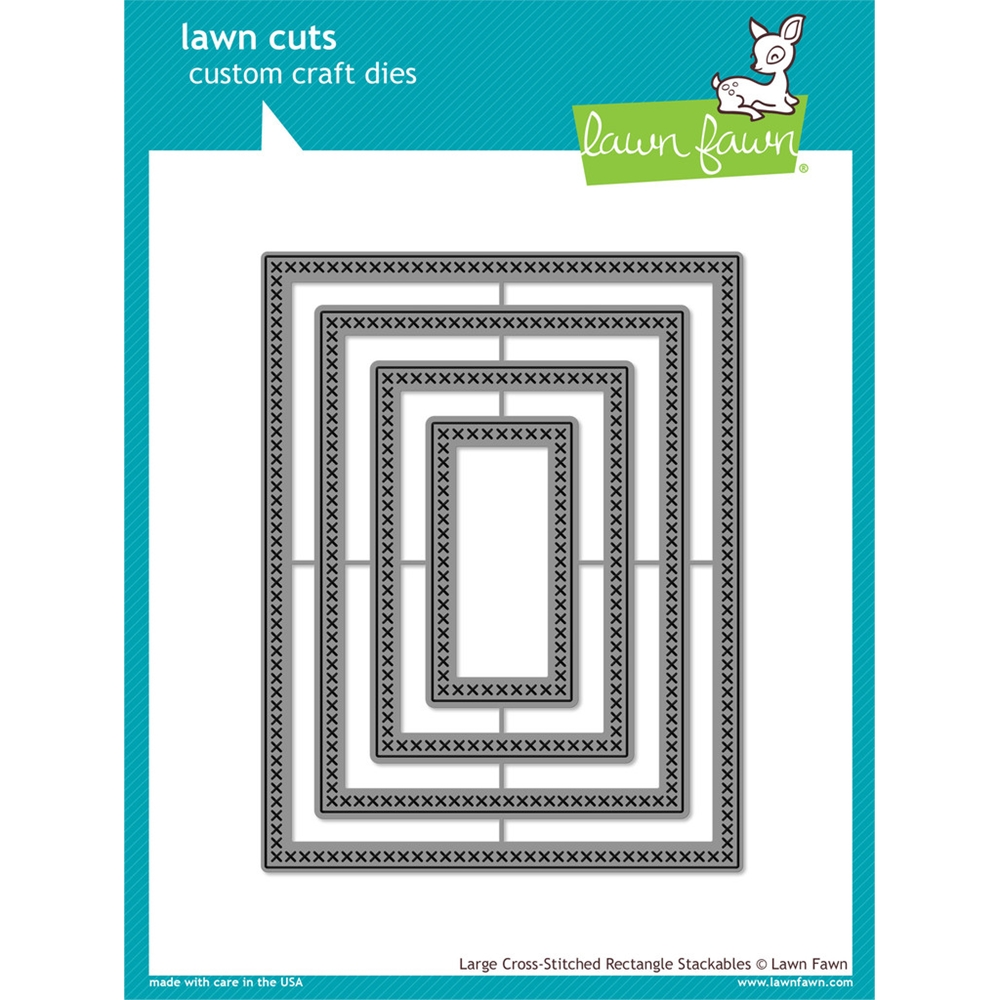 Lawn Fawn LARGE CROSS-STITCHED RECTANGLE STACKABLES Cuts Dies LF1178 zoom image