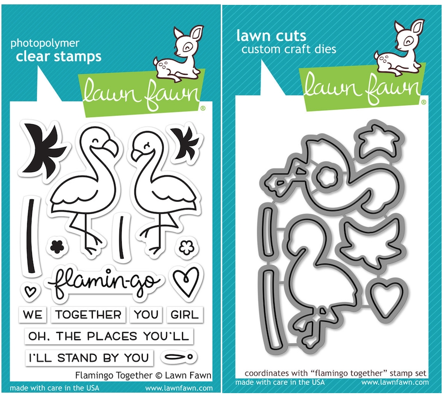 Lawn Fawn SET LF16SETFT FLAMINGO TOGETHER Clear Stamps and Dies zoom image