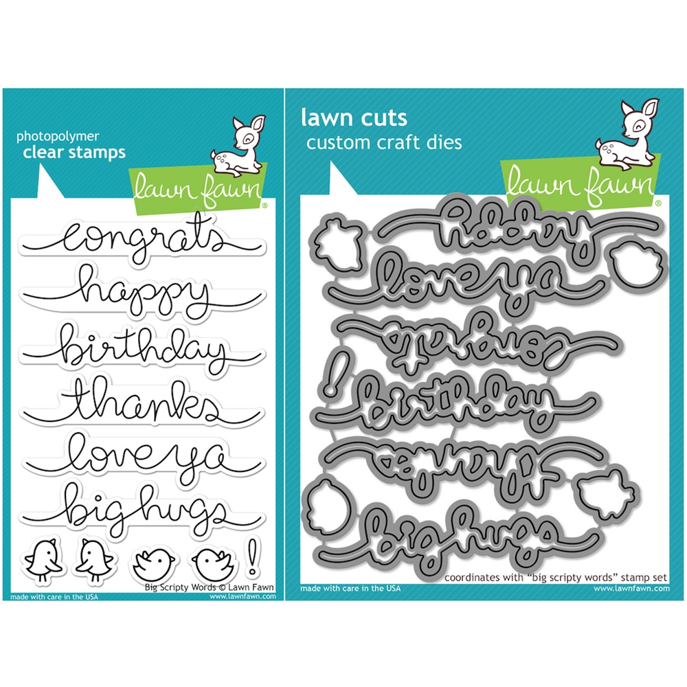 Lawn Fawn SET LF16SETBSW BIG SCRIPTY WORDS Clear Stamps and Dies zoom image