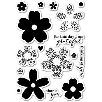 Memory Box Clear Stamps FLOURISH BLOOMS POPPY STAMPS CL427