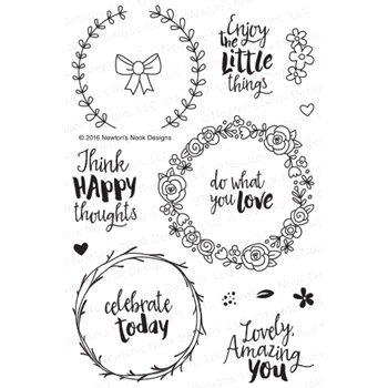 Newton's Nook Designs HAPPY LITTLE THOUGHTS Clear Stamp Set 20160501*