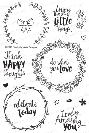 Newton's Nook Designs HAPPY LITTLE THOUGHTS Clear Stamp Set 20160501 zoom image
