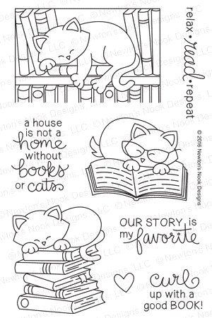 Newton's Nook Designs NEWTON'S BOOK CLUB Clear Stamp Set 20160503 zoom image