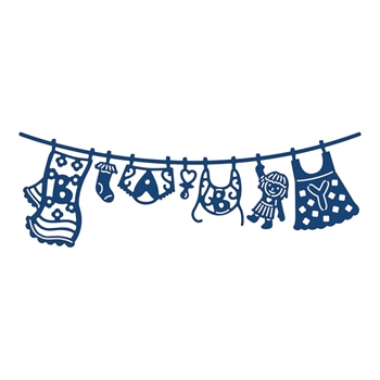 Tattered Lace WASHING LINE BABY GIRL Metal Die 137883