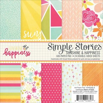 Simple Stories SUNSHINE AND HAPPINESS 6 x 6 Paper Pack 7222