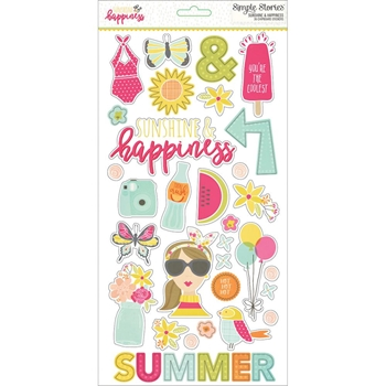 Simple Stories SUNSHINE AND HAPPINESS 6 x 12 Chipboard Stickers 7228
