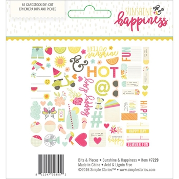 Simple Stories SUNSHINE AND HAPPINESS Ephemera Bits And Pieces 7229