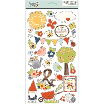 Simple Stories BLOOM AND GROW 6 x 12 Chipboard Stickers 7128