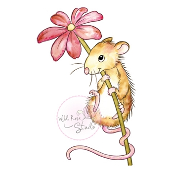 Wild Rose Studio MOUSE AND FLOWER Clear Stamp CL494