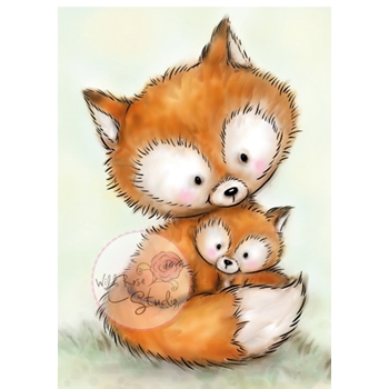 Wild Rose Studio MUMMY FOX AND BABY Clear Stamp CL492