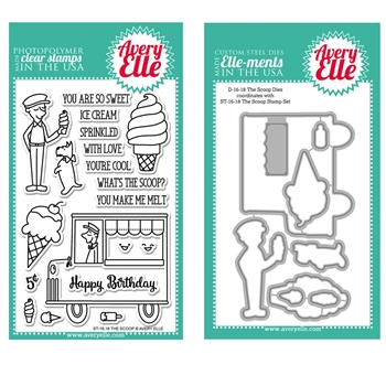 Avery Elle Clear Stamp and Die SETTSAE The Scoop SET