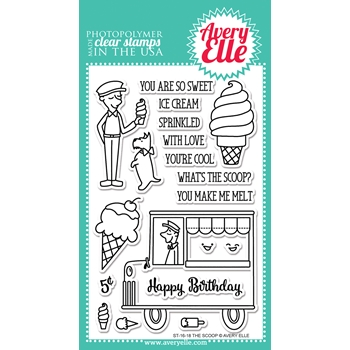 Avery Elle Clear Stamp THE SCOOP Set ST-16-18