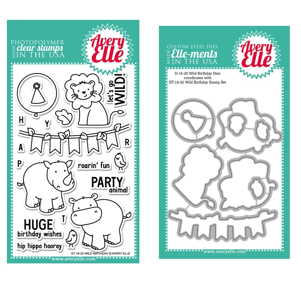 Avery Elle Clear Stamp and Die SETWBAE Wild Birthday SET* zoom image