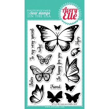 Avery Elle Clear Stamp BUTTERFLIES Set ST-16-21