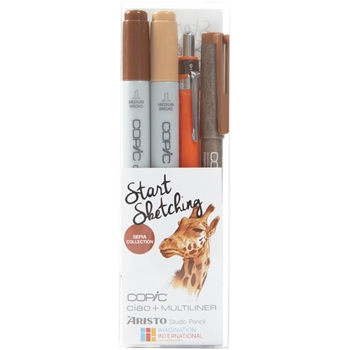 Copic Marker SEPIA Start Sketching Set 00812