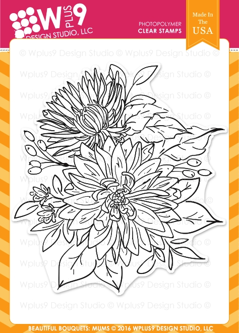 Wplus9 BEAUTIFUL BOUQUET MUMS Clear Stamps CLWP9BBM zoom image