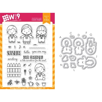 Wplus9 GARDEN BUDDIES Clear Stamp And Die Combo WPLUS318