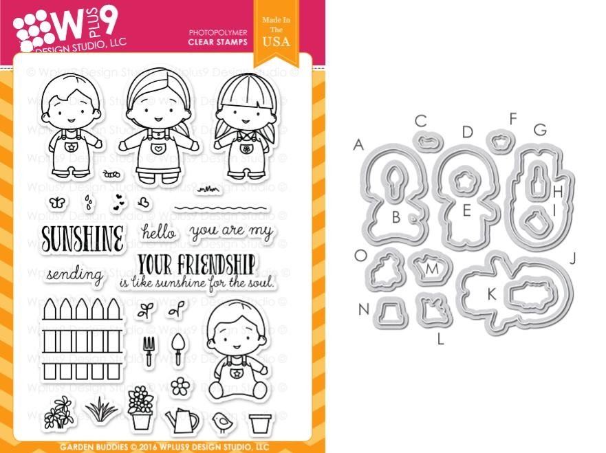 Wplus9 GARDEN BUDDIES Clear Stamp And Die Combo