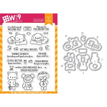 Wplus9 GET WELL GANG Clear Stamp And Die Combo WPLUS321