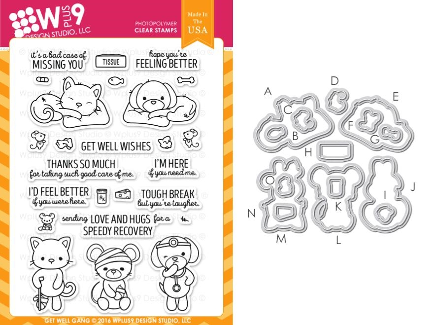 Wplus9 GET WELL GANG Clear Stamp And Die Combo