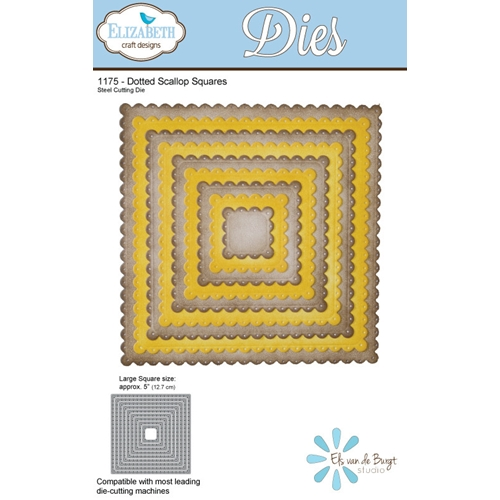 Elizabeth Craft Designs DOTTED SCALLOP SQUARES Craft Dies 1175 Preview Image